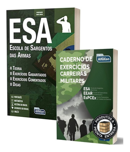Apostila Esa +livro Exercícios Carreiras Militares - Alfacon