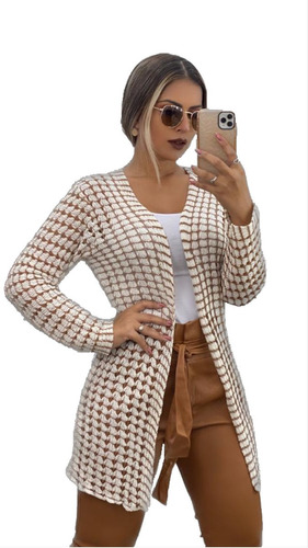 Blusa Cardigan Casaco Feminino Frio Manga Longa Quadriculado