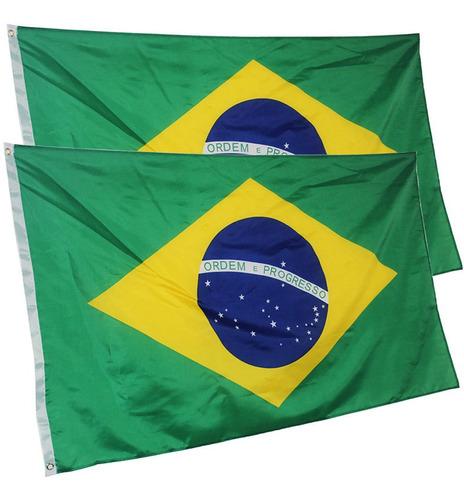 Bandeira Do Brasil 2 Faces Para Mastro, Parede, Sacada (2un)