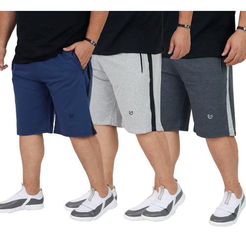 Kit 3 Shorts Bermuda Moletom Masculina 50 52 54 56 58 60
