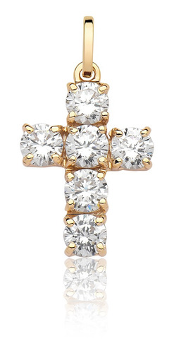 Pingente Cruz Pedras Brancas Barata Ouro Puro 18k P100