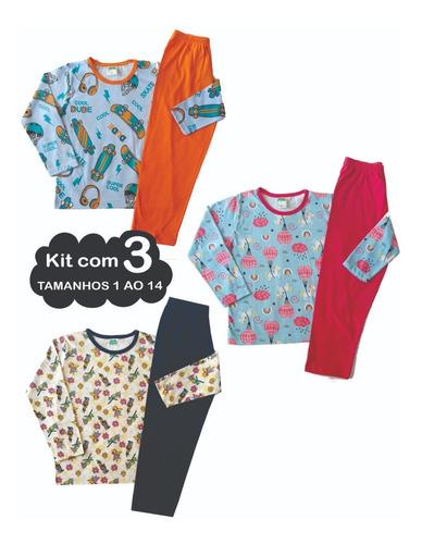 3 Pijama Infantil Menino Menina Juvenil Roupa De Dormir