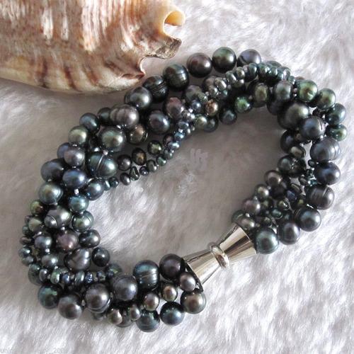 Bracelete Perolas Negra Furta-cor  Naturais  5 Fios Torçaide