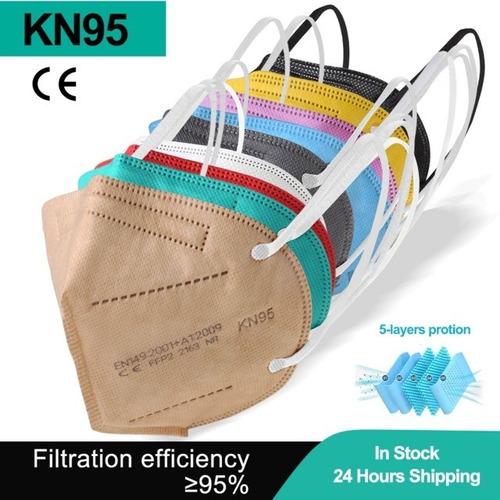 Kit 10 Máscara Kn95 Proteção 5 Camada Respiratória Pff2 N95