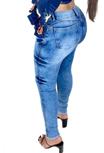 Calças Jeans Feminina Cintura Alta Cos Alto Com Lycla Oferta