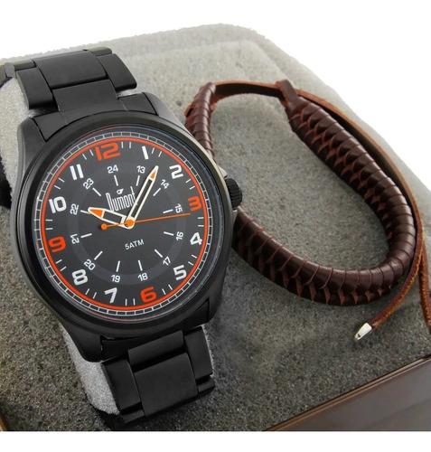 Relógio Dumont Masculino Couro Marrom + Kit  Du6p29acl/k2p