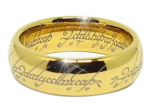 Anel O Senhor Dos Anéis Tungstênio Folheado A Ouro 18k