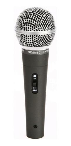 Microfone Santo Angelo Sas 58c Dinâmico  Cardióide Preto