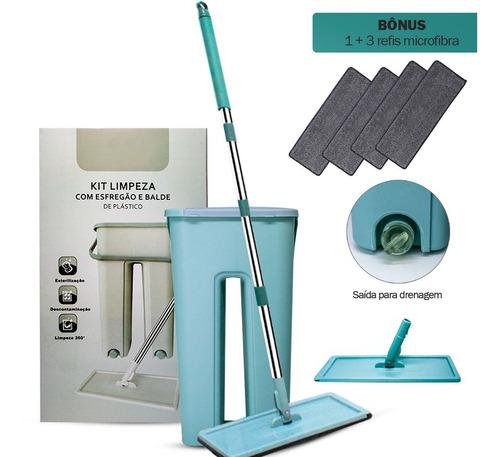Flat Mop Vertical Lava E Seca Multiuso + 4 Refis Bonus
