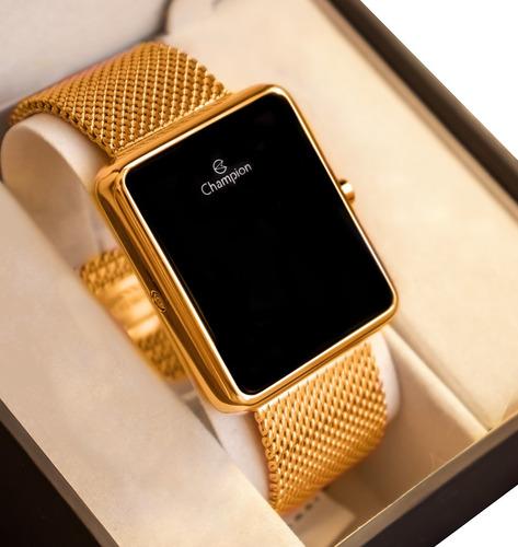 Relógio Champion Feminino Digital Quadrado Dourado Led