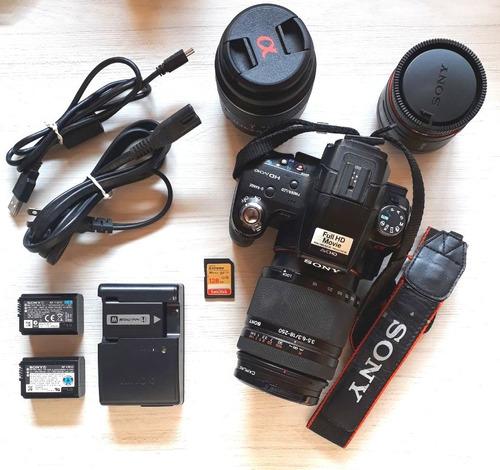 Câmera Sony Alpha 33 Slt-a33 Profissional Com Zoom 3 Lentes