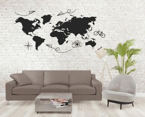 Vinilo Decorativo Mapa Mundial Mapamundi Pared Autoadhesivos