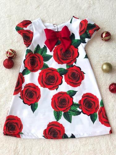 Vestido Infantil Natal Trapézio Florido Vermelho