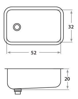 Bacha De Cocina Sobremesada Simple 403e 52 X 32 Acero