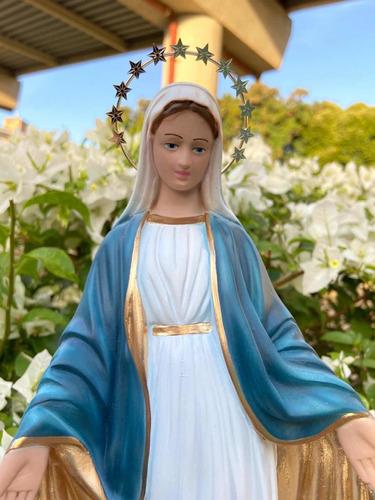 Nossa Senhora Das Graças 30cm Gesso Acabamento Fino Auréola
