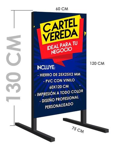 Cartel Para Vereda + Lona Doble Lado + Diseño + Full Color