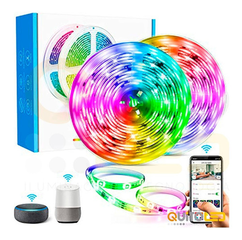 Cinta Rollo Tira Led Rgb Audio Rítmica Wifi Google Alexa