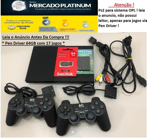 Playstation 2+ 2 Controle + 1 M.card + Pen Driver 64gb - Opl