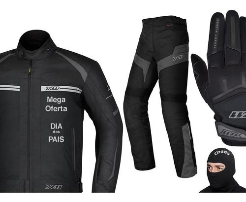 Kit X11, jaqueta, calça E Luva X, Touca Grátis Moto Motoqueiro