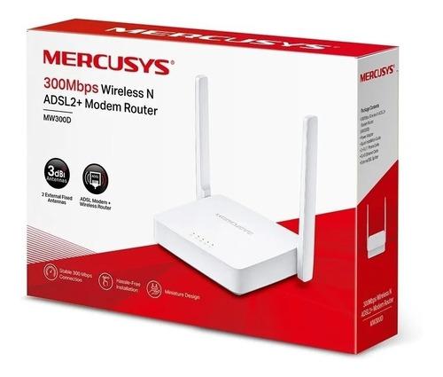Router Módem Wifi Mercusys Mw300d Adsl2+ 300 Mbps Bgui