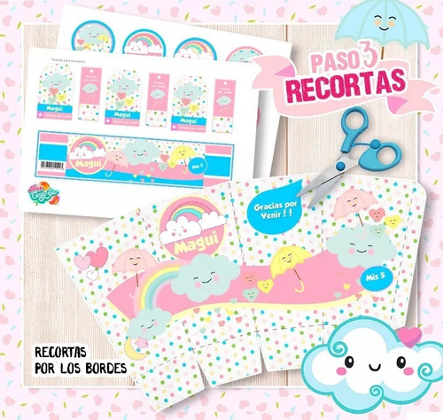 Kit Imprimible Cumpleaños Nubecitas Nube Arcoiris Promo 2x1