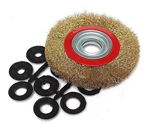 Cepillo Circular Acero Bronceado Amoladora Banco 150 Mm
