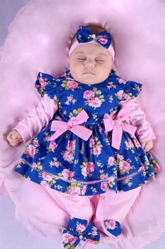 Saída De Maternidade Menina Azul Beatriz Floral Rose 4 Peças