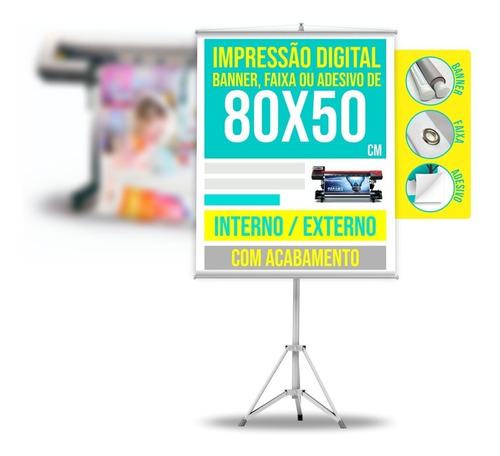 Banner Personalizado Faixa Ou Adesivo 0,8 X 0,5 M / 80 X 50