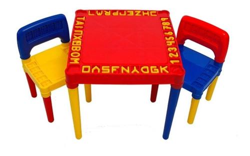 Mesa Infantil Com 2 Cadeira Educativa Para Crianças