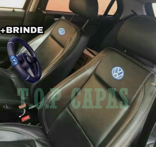 Capa Banco De Carro 100% Couro Ecológico Gol Voyage G5 G6 G7