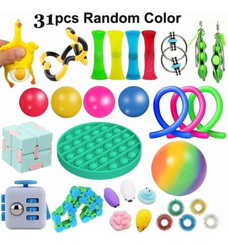 Kit De Brinquedos Anti Stress Fidget Toys P/ Adultos 30 Pcs