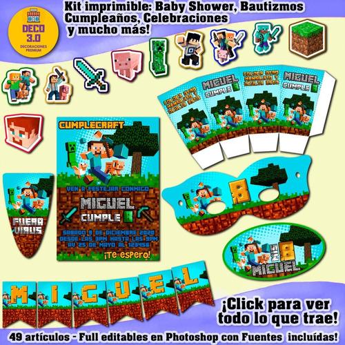 Kit Imprimible Editable Candy Bar Minecraft Photoshop Unisex