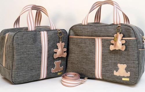 Bolsa Maternidade Linho Luxo Com Rosê  - Kit Com 03 Peças