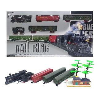 Tren A Pila Con Humo,sonido Y Luces Y 4 Vagones Rail King