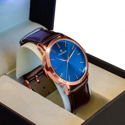 Relógio Champion Masculino Analógico Couro Marrom Original