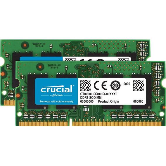 Memoria Ram 8gb (2x4gb) Ddr3 1600mhz Pc3-12800 Sodimm Crucia