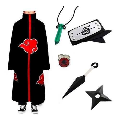 Kit Capa Akatsuki + Bandana Kunai Shuriken Colar Anel Naruto