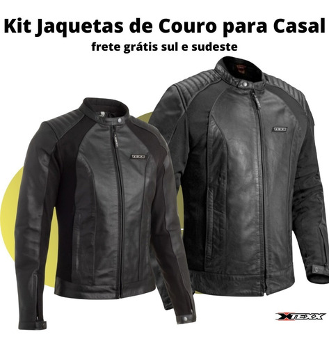 Kit Jaqueta Couro Casal Moto Presente Dia Namorados