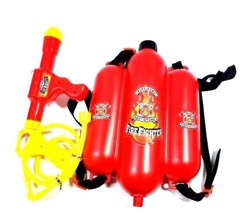 Pistola Lanza Agua Con Mochila Triple Tanque Bombero Roja