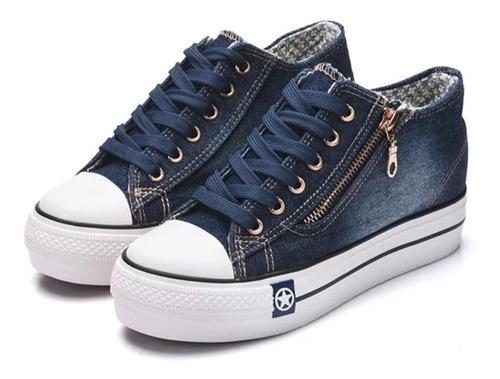 Tênis Plataforma Jeans Com Ziper Importado Pronta Entrega