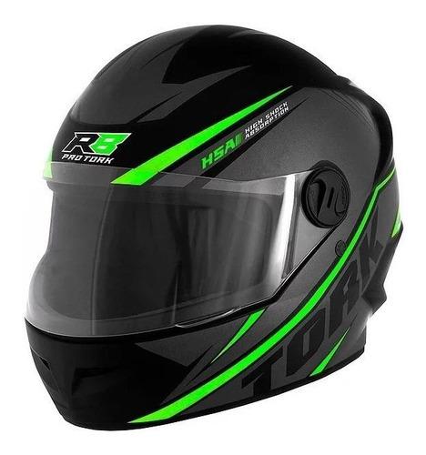 Capacete Para Moto  Integral Pro Tork New Liberty  R8  Preto E Verde R8 Tamanho 58