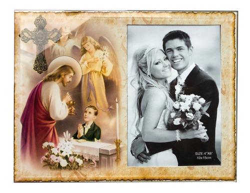 Porta Retrato 10x15 Mesa Moldura P/ Fotos De Vidro Jesus