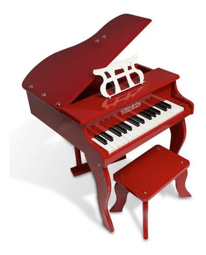 Piano De Cauda Turbo Infantil 30 Teclas - Vermelho
