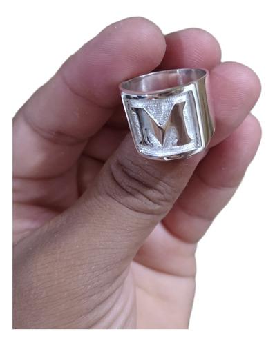 Anel Masculino Feito A Mão Em Prata 950 Faço Qualquer Letra