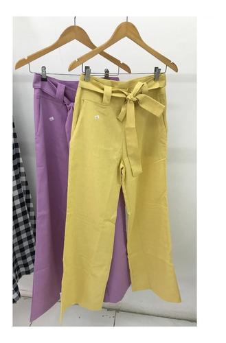 Calça De Linho Pantalona Social Trabalho Básico Com Bolso