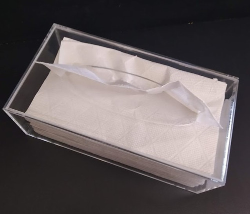 Cx P/ Lenços De Papel Ou Interfolhas, Branco, Preto, Cristal