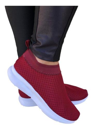 Tênis Meia Feminino Confortável Sem Cadarço Slip On Elástico