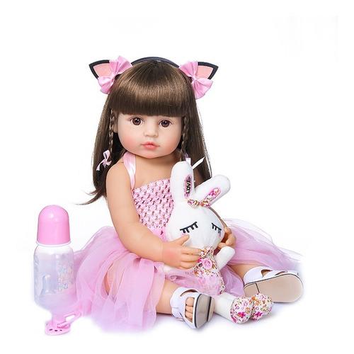Bebê Boneca Reborn 100% Silicone 47cm Olhos Castanhos Ig-500