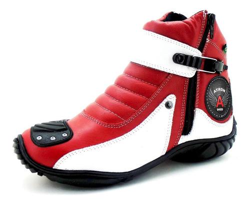 Bota Motociclista Para Moto Colorida Cano Curto Vermelha