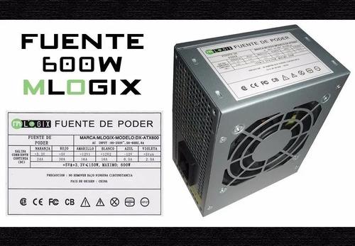 Fuente Mini  Cx 600 W Mlogix Dx-atx600  Gab. Slim